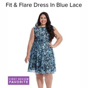 Julian Taylor 👗Blue/Black Lace Fit/Flare Dress